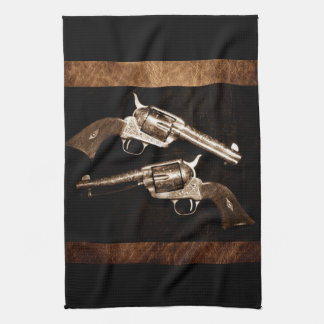 Grunge Cowboy Retro Western Country Pistols Kitchen Towel