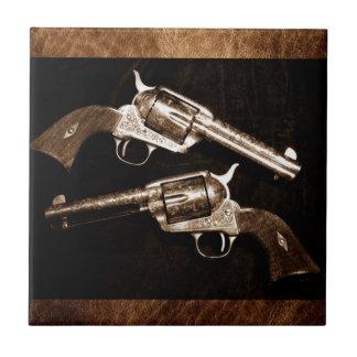 Grunge Cowboy Retro Western Country Pistols Tile