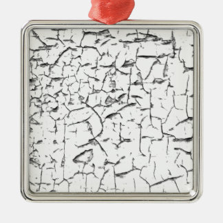 Grunge cracked paint effect Silver-Colored square ornament