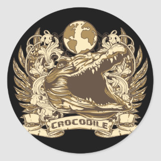 Grunge Crocodile Classic Round Sticker