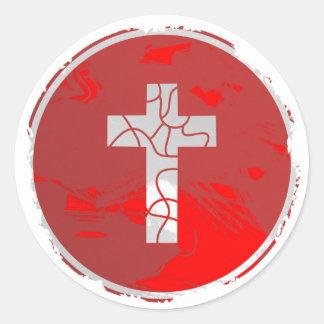Grunge Cross Sign Classic Round Sticker