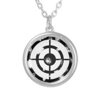 Grunge Crosshair Silver Plated Necklace