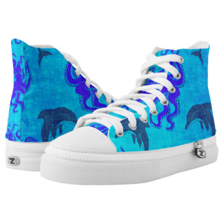 Grunge Custom Zipz Octopus and Dolphin Sneakers