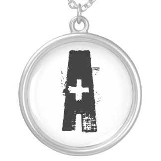 Grunge customizable initial silver necklace