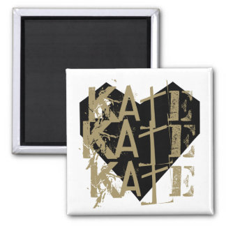 Grunge Customizable Name on Geometric Heart Magnet