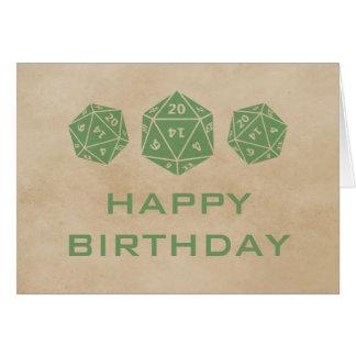 Grunge D20 Dice Gamer Birthday Card, Green Card