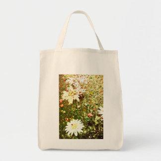 Grunge Daisies Grocery Tote Bag