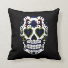 Grunge Day of the Dead Blue & Red Throw Pillow