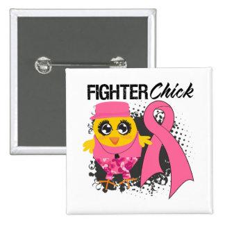 Grunge de poussin de combattant de cancer du sein macaron carré 5 cm