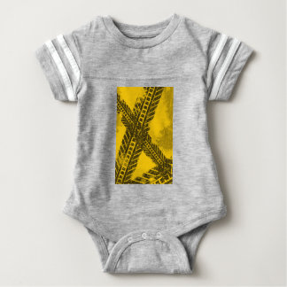 Grunge distressed black tire track road marking baby bodysuit