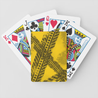 Grunge distressed black tire track road marking bicycle playing cards