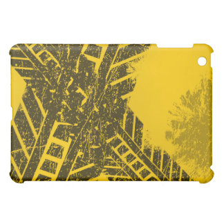Grunge distressed black tire track road marking cover for the iPad mini