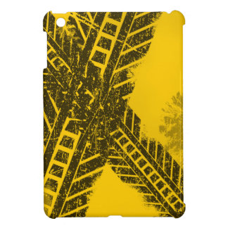 Grunge distressed black tire track road marking iPad mini cover