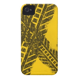 Grunge distressed black tire track road marking iPhone 4 cover