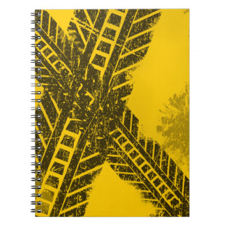 Grunge distressed black tire track road marking notebook
