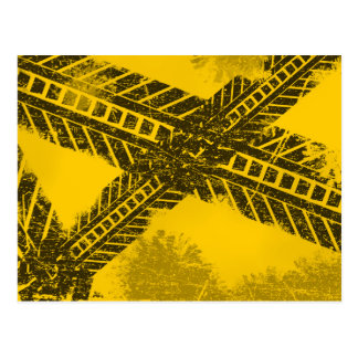 Grunge distressed black tire track road marking postcard