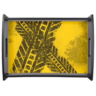 Grunge distressed black tire track road marking serving tray