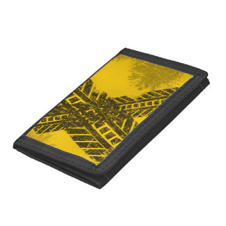Grunge distressed black tire track road marking trifold wallets