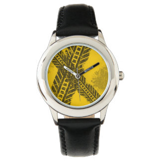 Grunge distressed black tire track road marking watch
