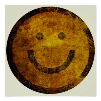 Grunge Distressed Smiley Face Poster (Large)