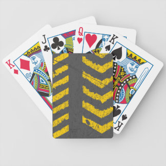 Grunge distressed yellow road marking bicycle playing cards