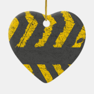 Grunge distressed yellow road marking ceramic ornament