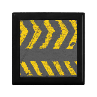 Grunge distressed yellow road marking gift box