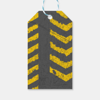 Grunge distressed yellow road marking gift tags