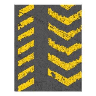 Grunge distressed yellow road marking letterhead