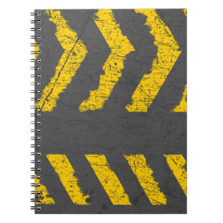 Grunge distressed yellow road marking notebook
