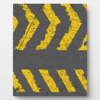 Grunge distressed yellow road marking plaque