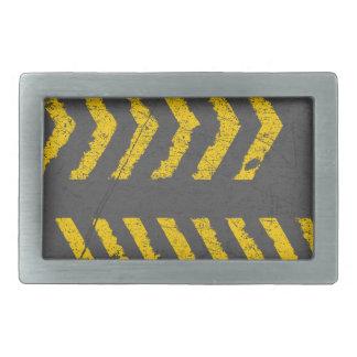 Grunge distressed yellow road marking rectangular belt buckles