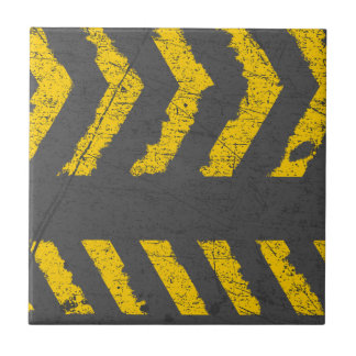 Grunge distressed yellow road marking tiles