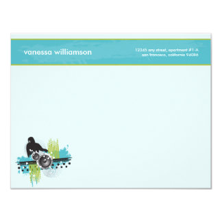 Grunge DJ Custom Flat Note Cards (aqua) Custom Announcement