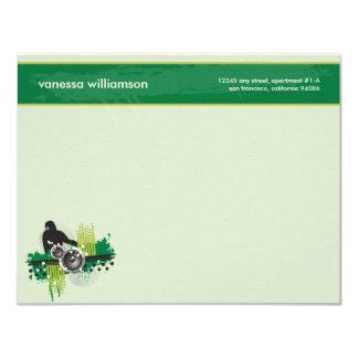 "Grunge DJ Custom Flat Note Cards (green) 4.25"" X 5.5"" Invitation Card"