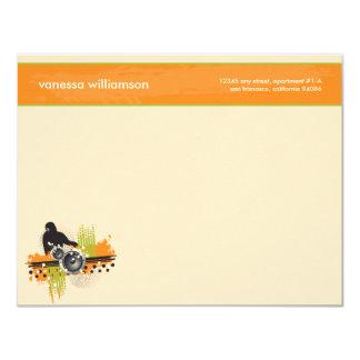"Grunge DJ Custom Flat Note Cards (orange) 4.25"" X 5.5"" Invitation Card"