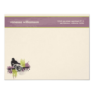 "Grunge DJ Custom Flat Note Cards (purple) 4.25"" X 5.5"" Invitation Card"
