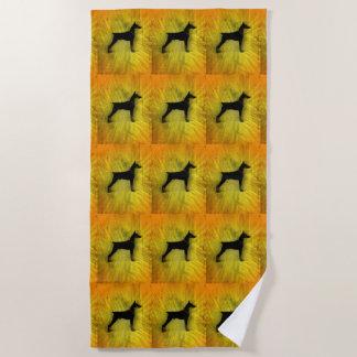 Grunge Doberman Pinscher Silhouette Beach Towel