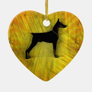 Grunge Doberman Pinscher Silhouette Ceramic Heart Ornament