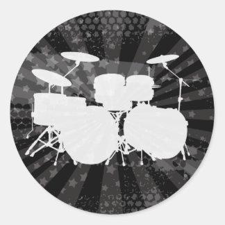 Grunge Drums Black Burst Classic Round Sticker