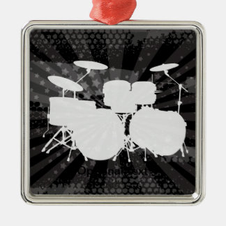 Grunge Drums Black Burst Silver-Colored Square Ornament