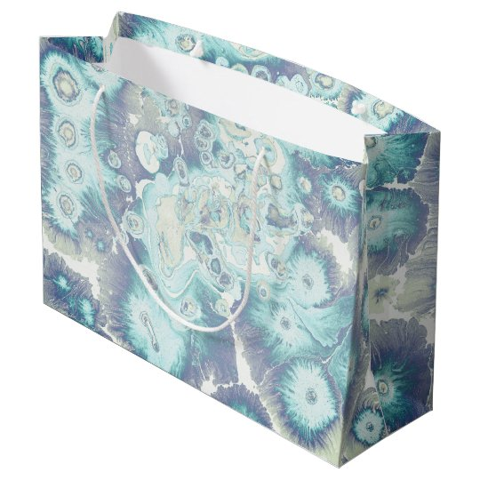 Grunge ebru themed design, rich watercolor splashe large gift bag