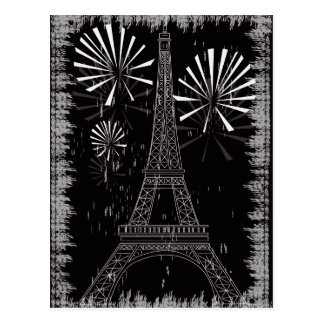 grunge eiffel tower postcard