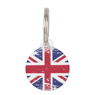Grunge England Flag Pet ID Tag
