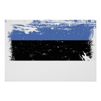 Grunge Estonia Flag Poster