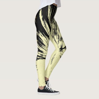 Grunge explosion, black and yellow lines pattern leggings