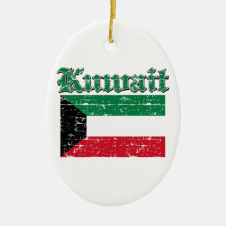 Grunge Flag of Kuwait Ceramic Oval Ornament