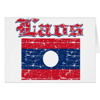 Grunge Flag of Laos Card