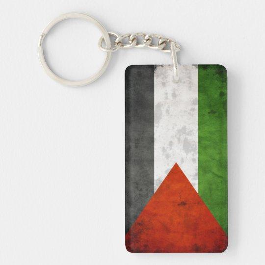 Grunge Flag of Palestine Single-Sided Rectangular Acrylic Keychain