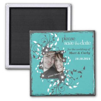 Grunge Floral Asian Frame Magnet